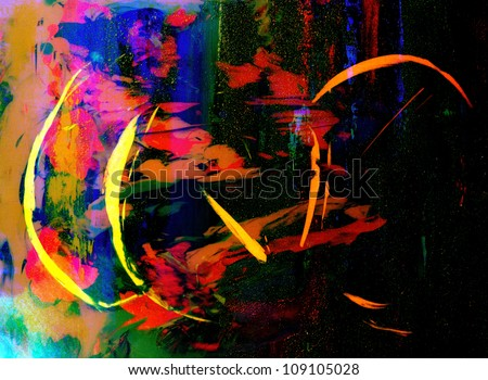 Nice Image Of a Abstract painting On Glass in verso with High Texture - stock photo