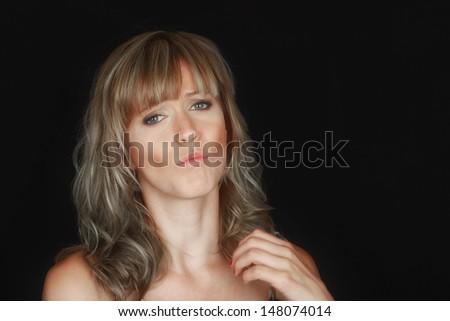Nice image of a Beautiful Woman on Black - stock photo