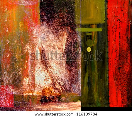 nice Image of a large scale Abstract. plastic and Glue over Oil On Canvas - stock photo
