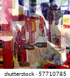 Nice Image of a Very Large scale Abstract Painting on canvas - stock photo