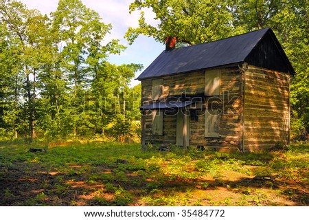 Nice Image of a  vintage homestead in the mountains - stock photo
