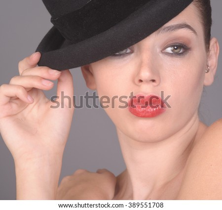 Nice Image of a young Glamour woman with Hat