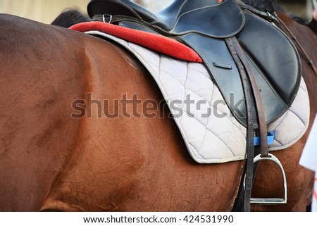 Nice image of an equestrian saddle  - stock photo