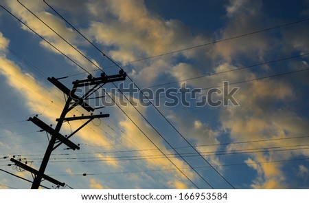 Nice Image Of Powerlines in early Morning - stock photo
