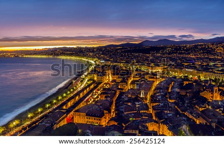Nice in the evening after sunset - stock photo