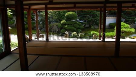 Nice japanese garden in Kyoto (Tofuku-ji temple) - stock photo