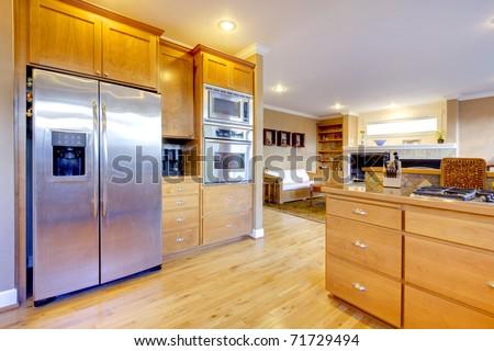 Nice kitchen with beautiful wood. - stock photo