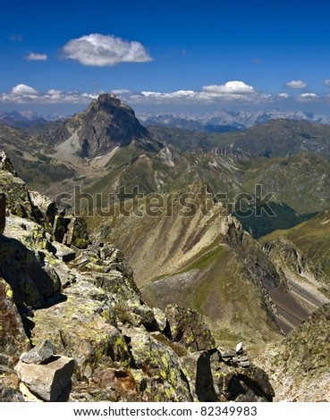 Nice landscape in the Pyrenees - stock photo