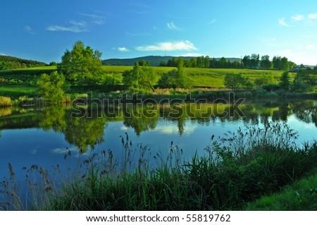 nice landscape on summer day - stock photo