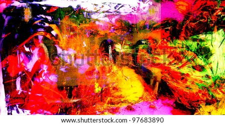 Nice large scale oil On Cloth painting - stock photo