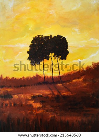 Nice large scale original landscape painting Oil on Canvas - stock photo