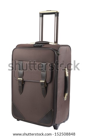 Nice leather violet suitcase with rollers and handle isolated on white - stock photo