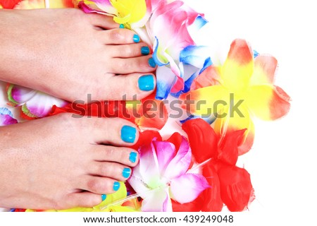 nice legs with pedicure isolated on the white background - stock photo