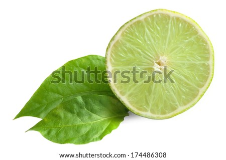 Nice lime lime fruit on white - stock photo