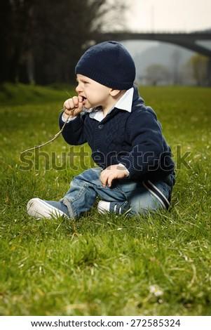 Nice little boy in park - stock photo