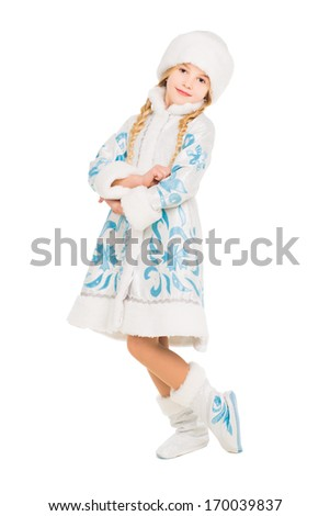 Nice little girl posing in snow maiden costume. Isolated on white