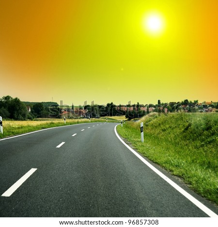 nice long and wide roads for car drivers - stock photo