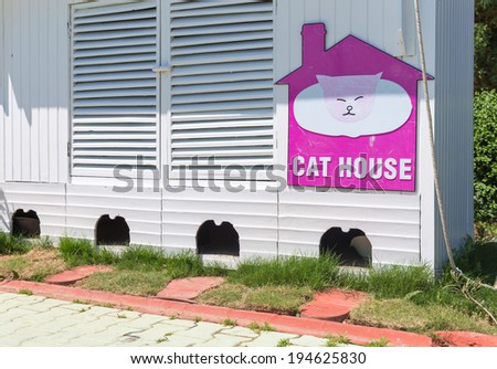 Nice looking cat house for four cats - stock photo