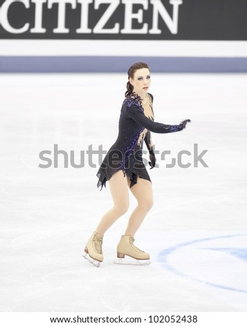 NICE - MARCH 31: Alena Leonova of Russia performs her free skating at the ISU World Figure Skating Championships, held on March 31, 2012 in Nice, France