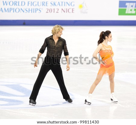 NICE - MARCH 28: Meryl Davis and Charlie White of the USA perform their short dance at the ISU World Figure Skating Championships, held on March 28, 2012 in Nice, France - stock photo
