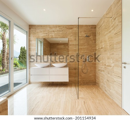 nice modern bathroom, marble walls - stock photo