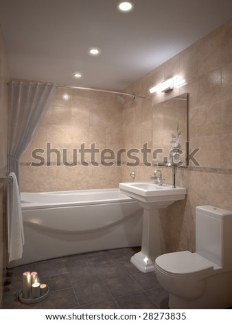 nice modern bathroom with candles