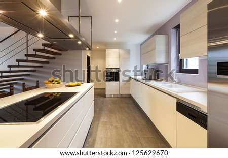 nice modern loft, view of the kitchen - stock photo