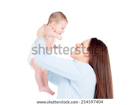 Nice moment of a mother with her baby isolated on a white background - stock photo