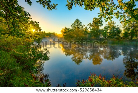 Nice morning scene on river in sunny time