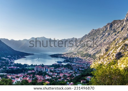 Nice mountain and sea view. Kotor. Montenegro - stock photo
