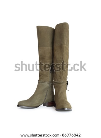 Nice new female olive green high boots. Isolated on white with clipping path