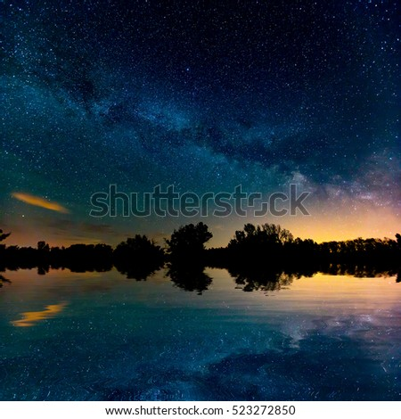 nice night sky over lake in summer