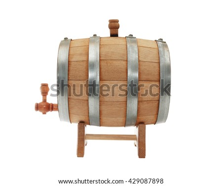 Nice oak barrel with faucet on white background. Isolated with clipping path - stock photo