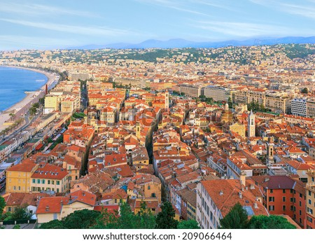 Nice old town, Cote d'Azur, French Riviera, France - stock photo