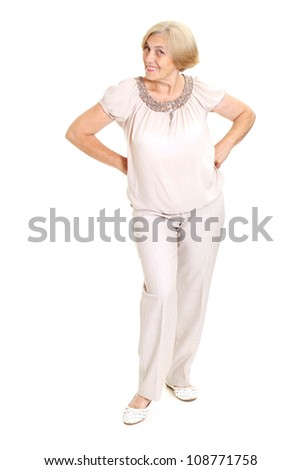Nice old woman on a white background