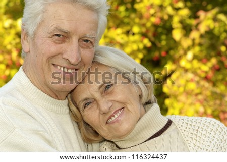 nice older couple standing in autumn park