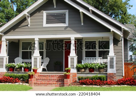 Nice one-family house with a porch - stock photo