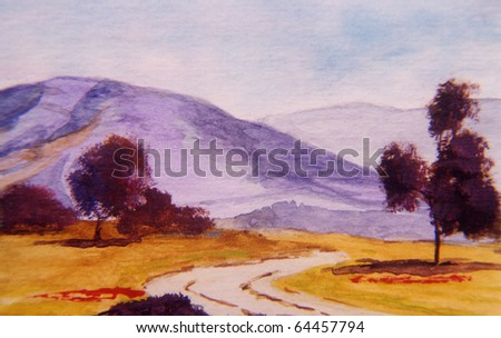 Nice Original Landscape painting of a country scene - stock photo