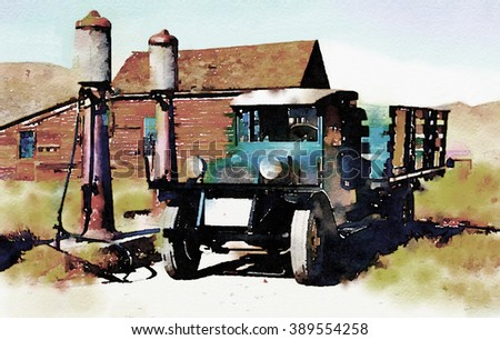 Nice original Painting Of a vintage truck in a Ghost town