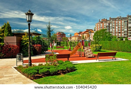 Nice park with trees - stock photo