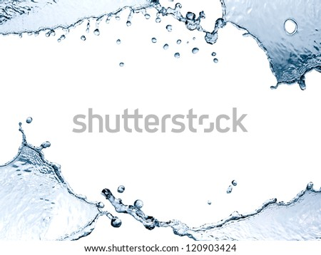 Nice picture frame made from blue splashing water on white background - stock photo