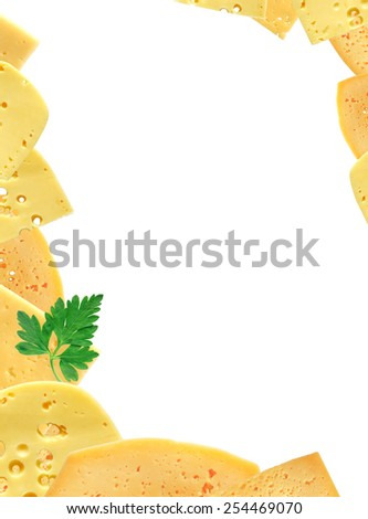 Nice picture frame made from various sliced cheese - stock photo