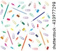 Nice picture of different colored paper clips and buttons, pencil  and glue on white background - stock vector