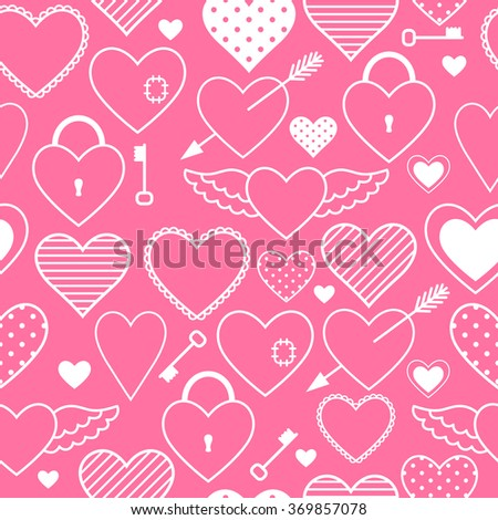 Nice pink seamless pattern with different hearts designed for Valentine's Day or another holiday.