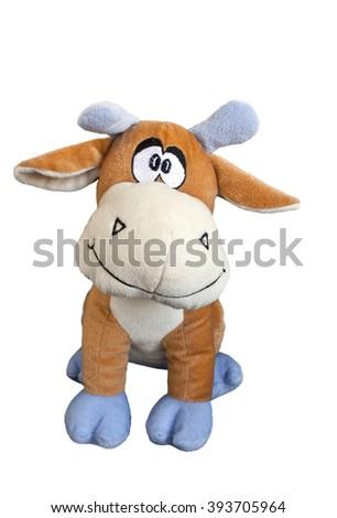 Nice plush toy calf isolated on white  background - stock photo