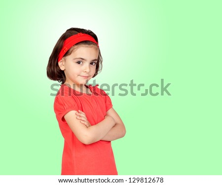 Nice portrait of beautiful girl with isolated on a green background - stock photo