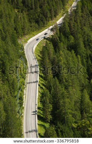 Nice road in the Italian Dolomites - stock photo