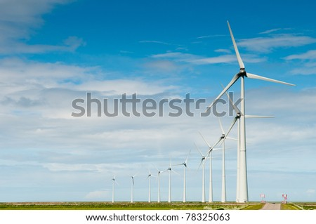 nice row of windmills for generating electricity