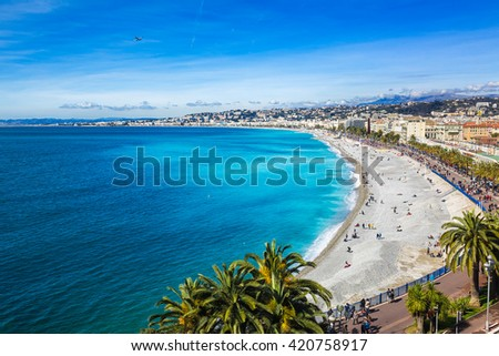 Nice's promenade during a sunny spring day in France
