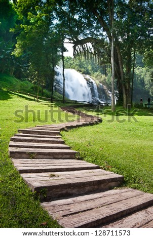 Nice S-shape walkway to Vachiratharn Waterfall Doi Inthanon National Park - Chiang Mai ,Thailand